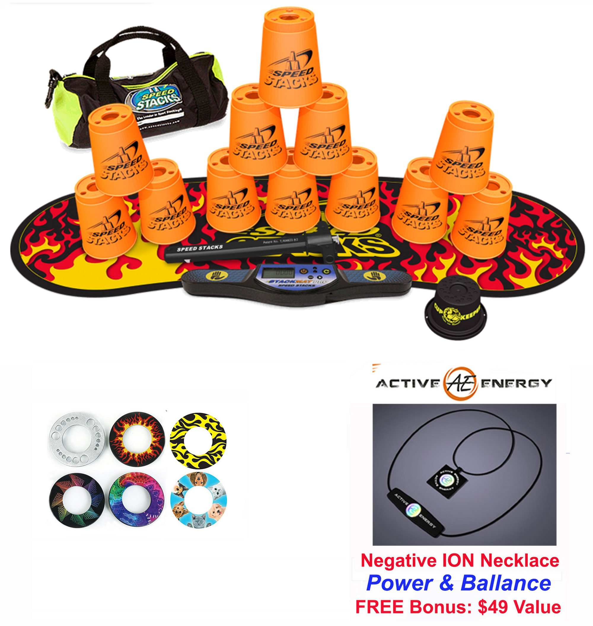 Speed Stacks Custom Combo Set - The Works: 12 ORANGE 4'' Cups, Cup Keeper, Quick Release Stem, Pro Timer, Gen 3 Premium Black Flame Mat, 6 Snap Tops, Gear Bag + FREE: Active Energy Power Necklace $49