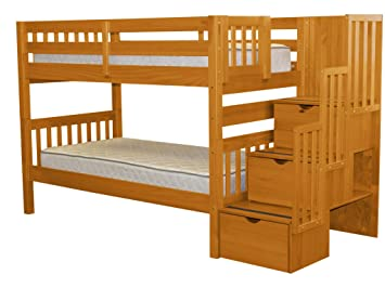 Bedz King Stairway Bunk Beds Twin Over Twin With 3 Drawers In The Steps,  Honey
