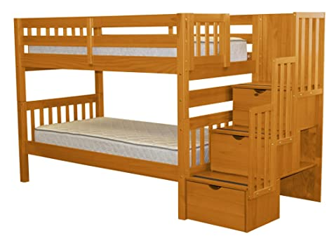 timeless design 5555f d948b Bedz King Stairway Bunk Beds Twin over Twin with 3 Drawers in the Steps,  Honey