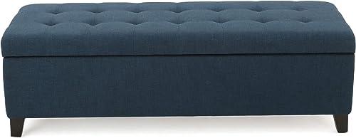 Christopher Knight Home Mission Fabric Storage Ottoman, Dark Blue