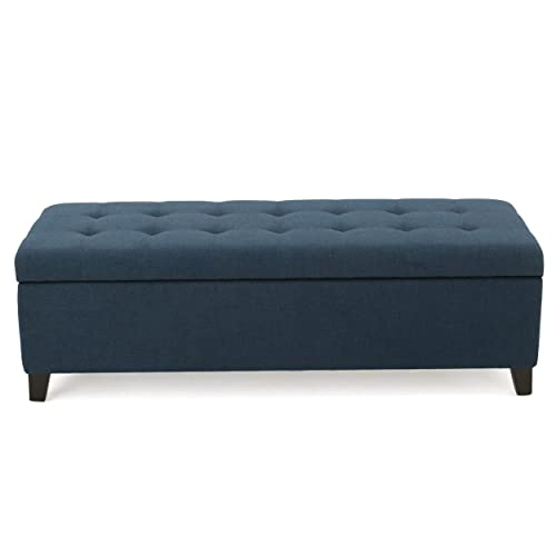 Christopher Knight Home Living Santa Rosa Dark Blue Fabric Storage Ottoman