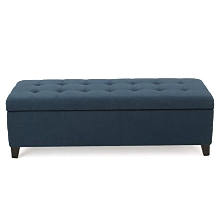 Christopher Knight Home 299432 Living Santa Rosa Dark Blue Fabric Storage Ottoman,