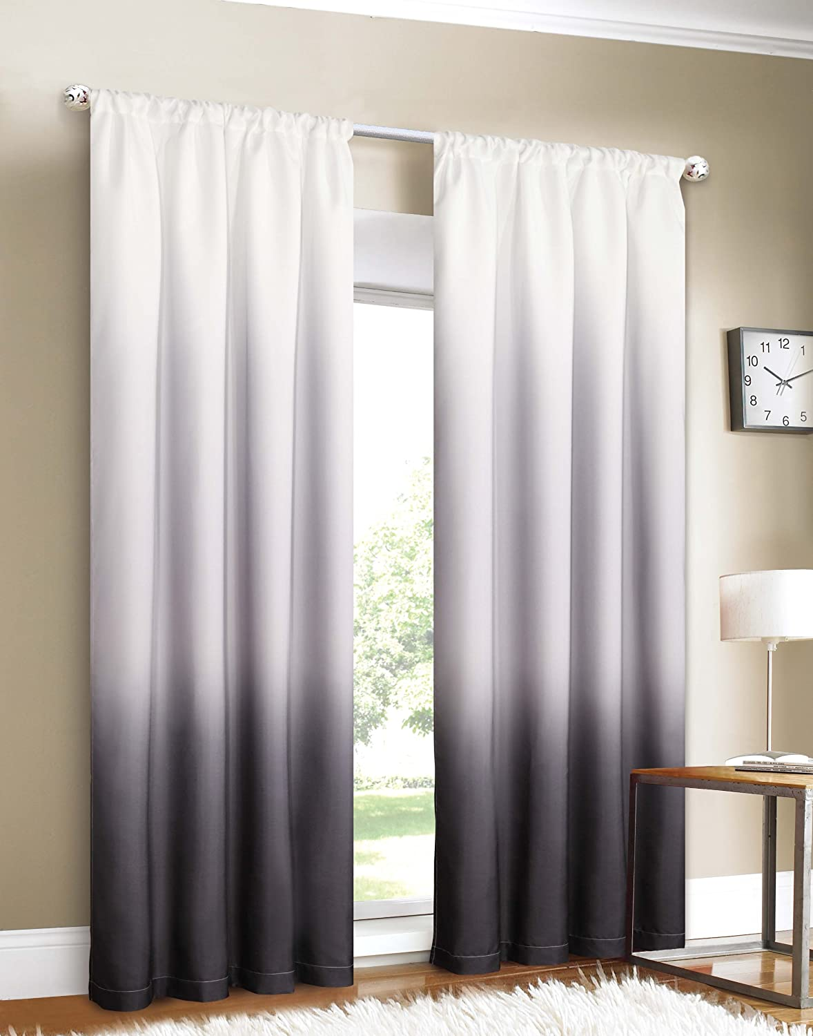 Black ombre curtains - Amazon Com Dainty Home Shades 2 Window Panel Rod Pocket Set 40 By 84 Inch Black Home Kitchen