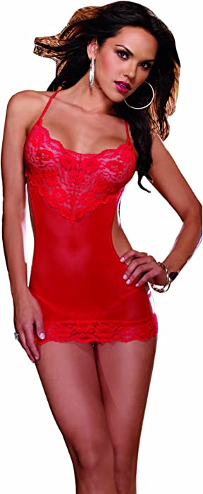 Amazon.com  Dreamgirl Women s Cheap Thrills Open Back Chemise and ... 727c2a61a