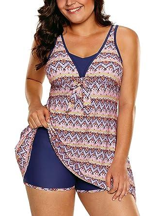 83c45ec9ab AlvaQ Women Asymmetric Hem Open Back Printed Swimdress Two Piece Tankini  Swimsuits S-XXXL