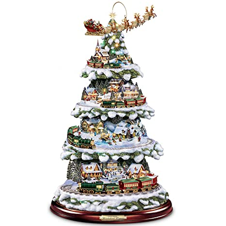 Christmas Tree Train.Bradford Exchange Thomas Kinkade Animated Tabletop Christmas Tree With Train Wonderland Express By The
