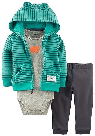 647c42aa01c2 Amazon.com  Carter s Baby Boys  3 Piece Eared Cardigan Set  Baby