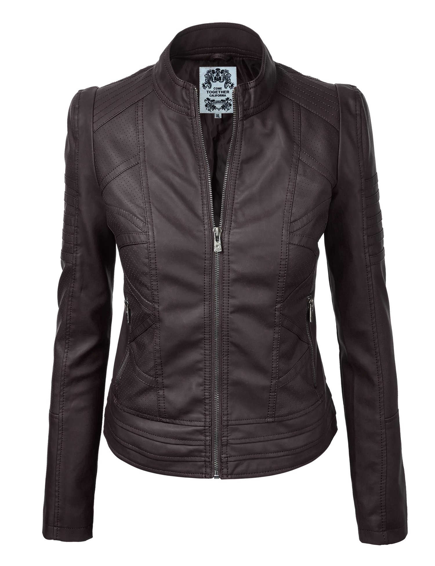 Come Together California WJC746 Womens Vegan Leather Motorcycle Jacket L Coffee by Come Together California