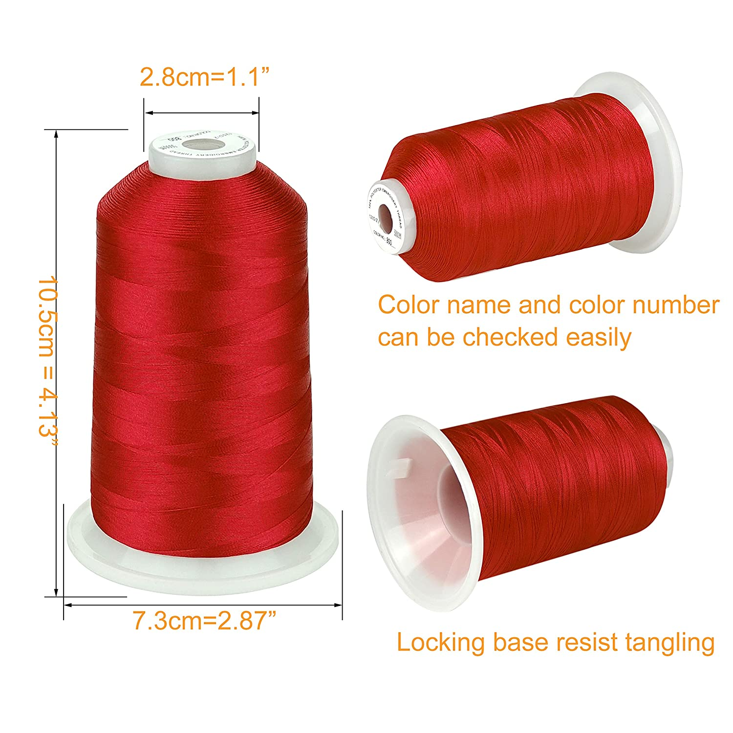 Simthread Essential Color 2 Various Assorted Color Packs of Polyester Embroidery Machine Thread Huge Spool 5500Y for Sewing Embroidery Machines 26 Selections