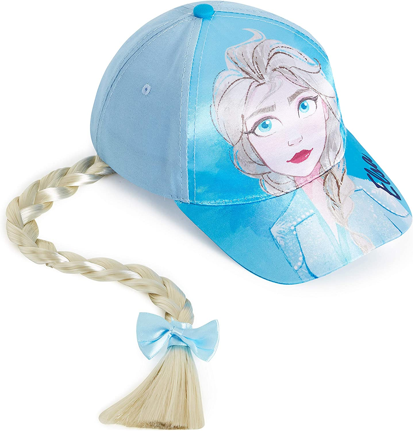 One Size Blue Summer Hat Frozen Gifts for Girls Teenagers Hair Accessories for Girls Girls Sun Hat with Braid and Print of Disney Princess Elsa Disney Frozen 2 Baseball Cap