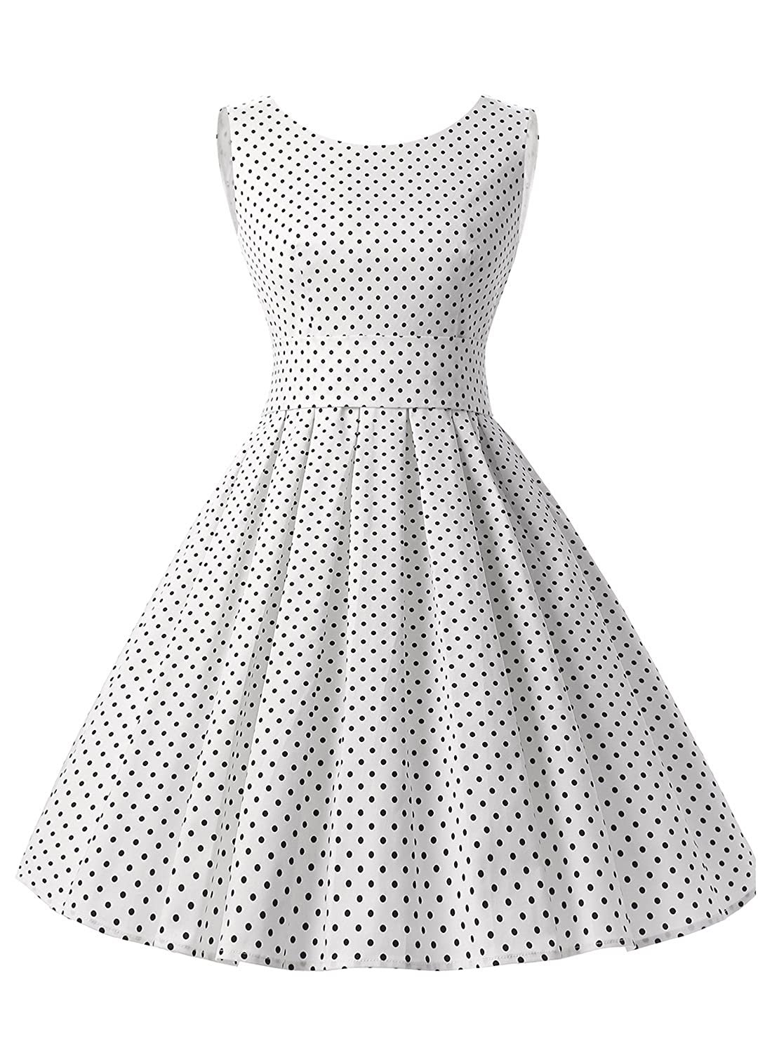 Vintage Polka Dot Dresses – Ditsy 50s Prints Dressystar Vintage 1950s Audrey Hepburn Style Rockabilly Swing Party Prom Dress $24.69 AT vintagedancer.com