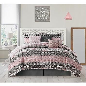 Amazon 7 piece girls pink black white damask theme comforter 7 piece girls pink black white damask theme comforter king set beautiful all over medallion mightylinksfo