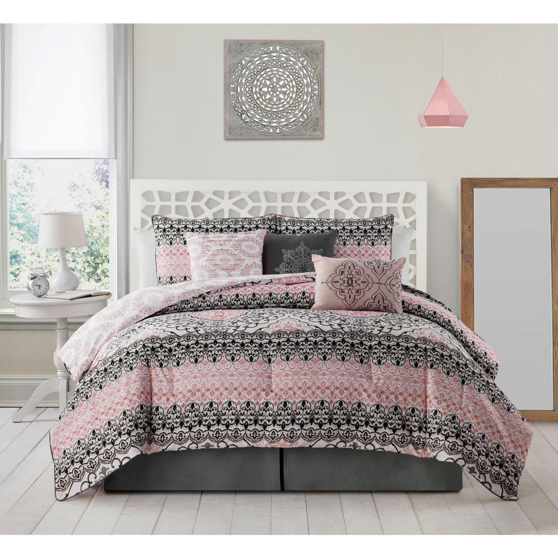 7 Piece Girls Pink Black White Damask Theme Comforter King Set, Beautiful All Over Medallion Flower Bedding, Multi Geometric Floral Scroll Motif Horizontal Stripe Themed Pattern, Light Rose Salmon