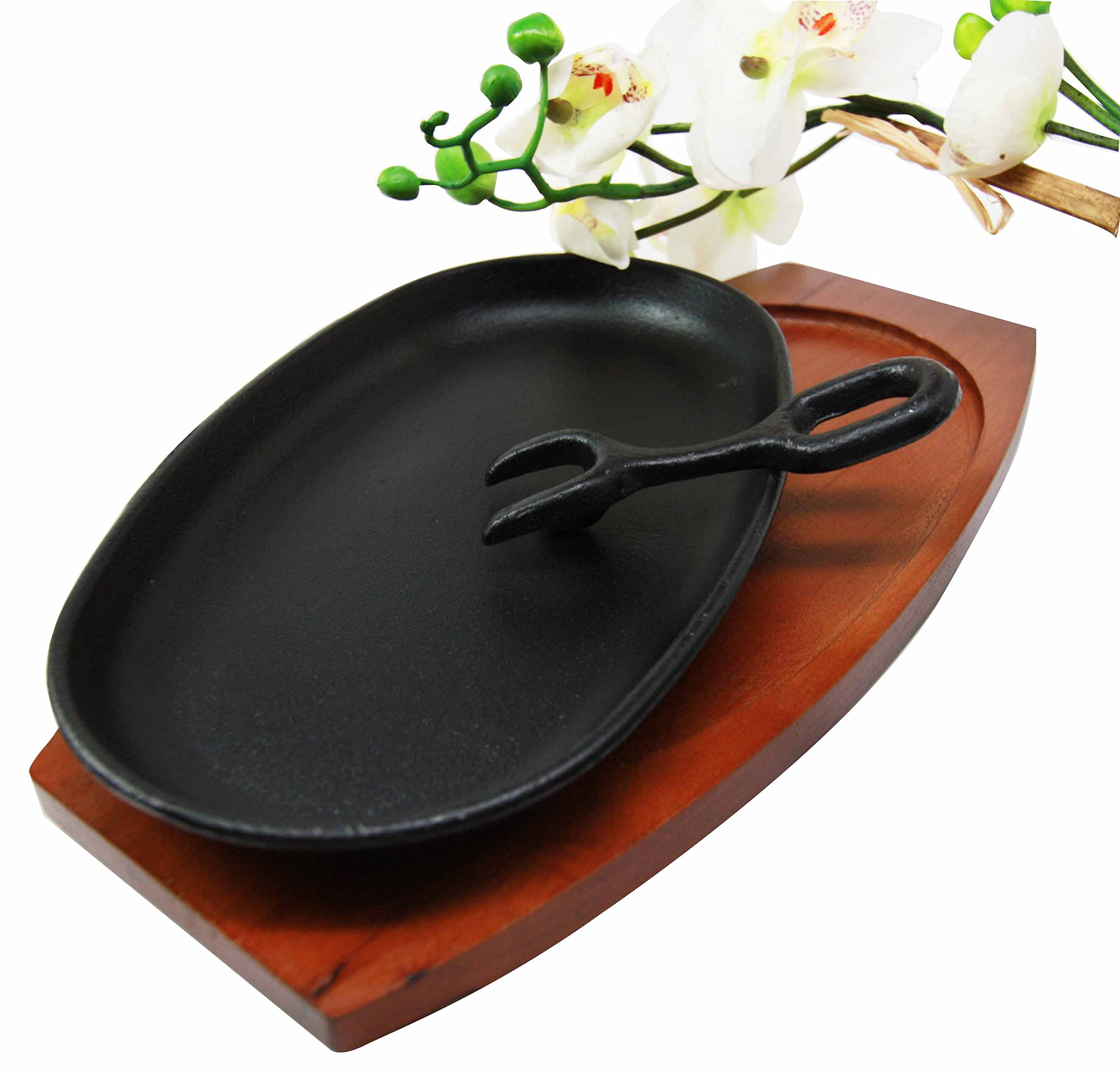 9.25'' Long Cast Iron Sizzling Fajita Japanese Steak Plate With Handle and Wooden Base
