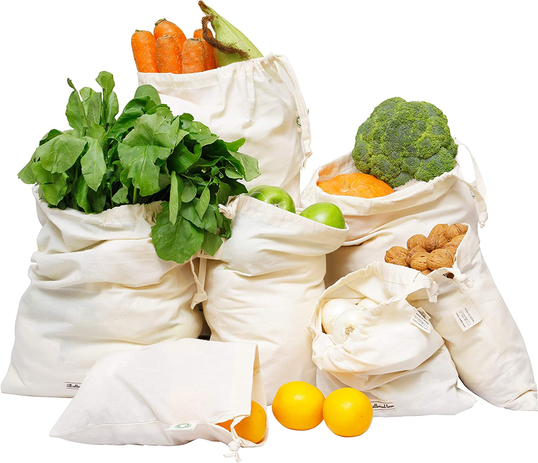 Bolsas de muselina y algodón muselina - Bolsas de algodón para compras - Conjunto de bolsas de vegetales reutilizables de 7 (1 de XXL, L, M, S, XS y 2 de XL)