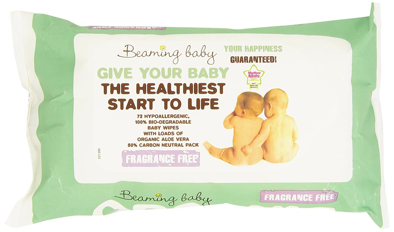 Beaming Baby - Bio-Degradable Baby Wipes - Toallitas húmedas ecológicas con Aloe Vera - 72 toallitas 75253