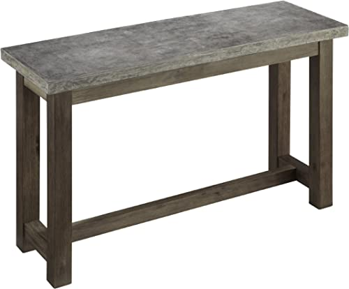 Home Styles Concrete Chic Brown Gray Console Table with Molded Concrete Top and Aged Metal Finish