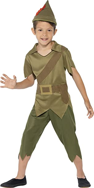 Smiffy's Children's Robin Hood Costume, Top, Trousers, Hat, Serious Fun, Color: Green, Ages 4-6, Size: Small, 44063