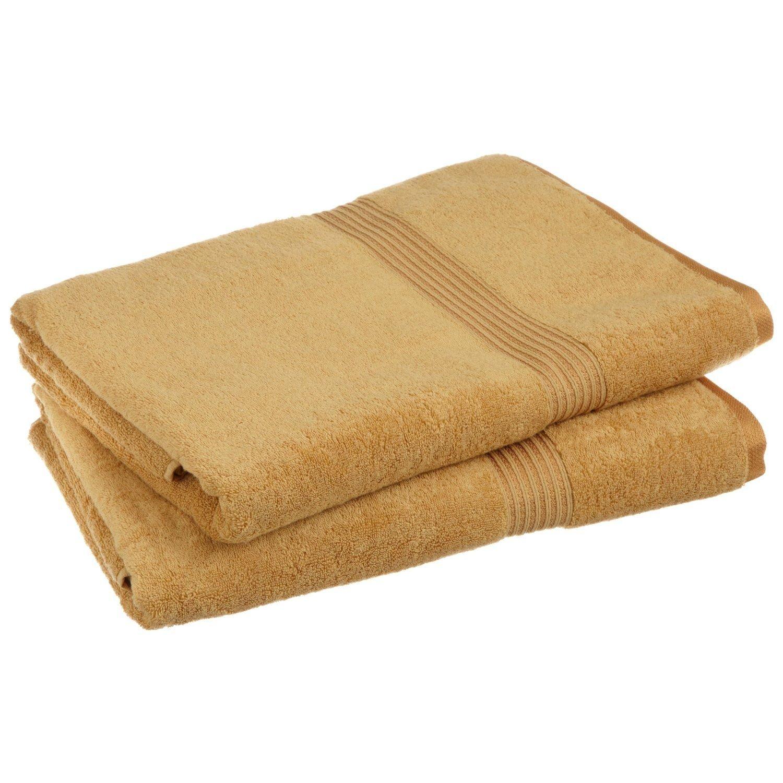 Superior 100% Egyptian Cotton Solid Bath Sheet Set, Gold, 2-Piece
