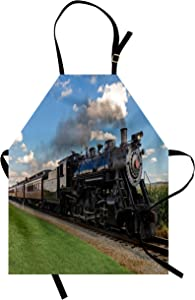 Ambesonne Steam Engine Apron, Vintage Locomotive in Countryside Scenery Green Grass Puff Train Picture, Unisex Kitchen Bib with Adjustable Neck for Cooking Gardening, Adult Size, Blue Green