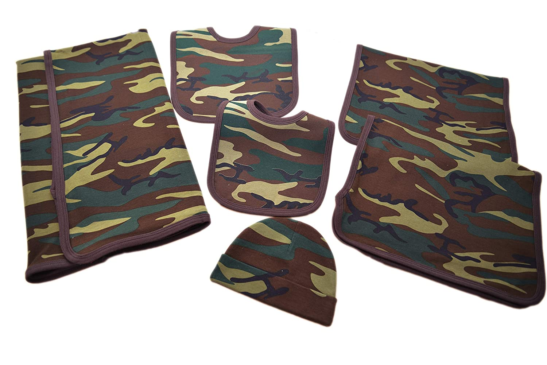OPTCO FASHIONS Camouflage.1 Nursery Receiving Blanket,2 BurpCloths,2 Bibs,1 BabyBeanie,6pieces