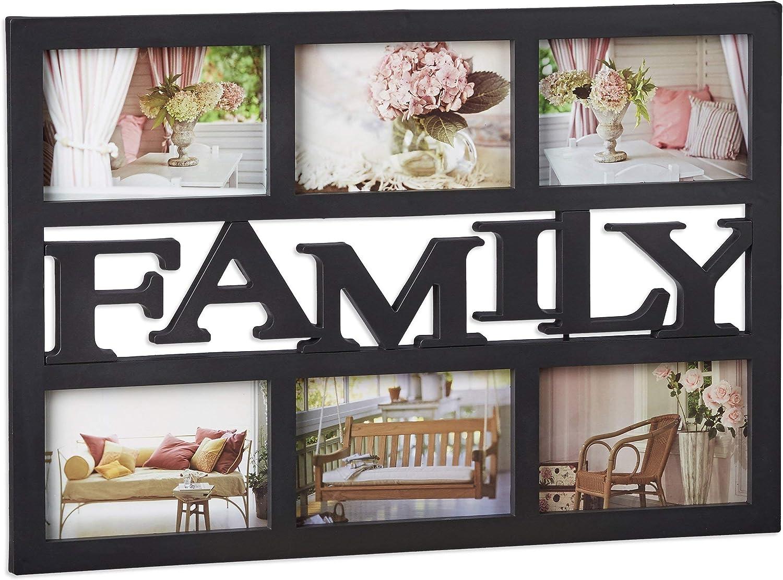 Relaxdays Cadre photos p/êle-m/êle 6 photos Galerie collage cadre mural Family famille 33 x 48 cm noir