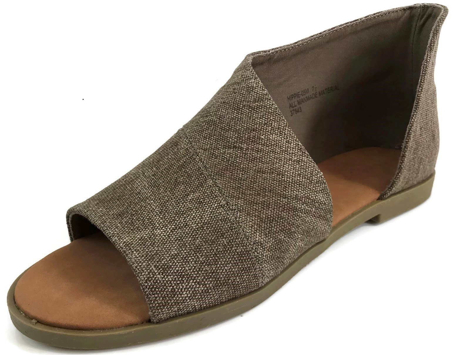 Bamboo Fashion Women's Faux Leather Asymmetrical Sandal Open Toe Half D'Orsay Flats Heel, Taupe, 7.5