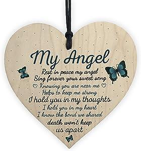 XLD Store Dad Mum Nan Graveside Memorial Remembrance Wooden Heart Grave Plaque Cemetery Garden Sign