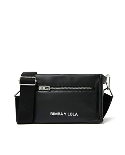 f5aabf89501 Image Unavailable. Image not available for. Color: Bimba y Lola Women Black  leather rectangular padded crossbody bag 191BBNA1U