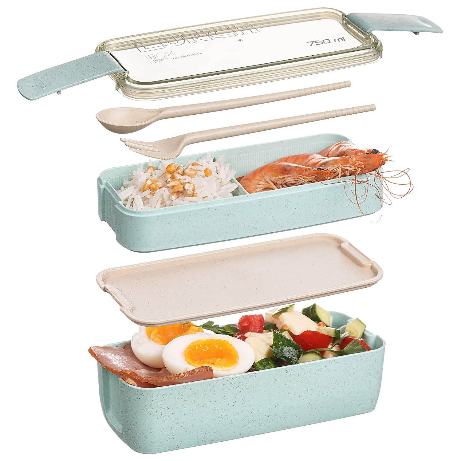 The All-in-one Lunch Bento Box -Two Stackable Meal Prep Kids Bento Box- Dishwasher Safe,Utensils,Dividers-Food Storage Containers