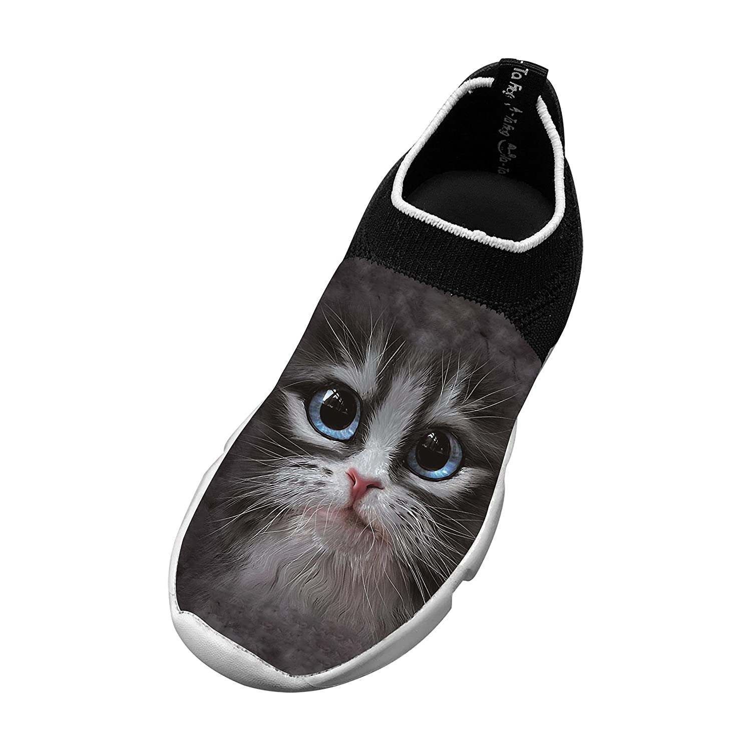 New Fashion Flywire Weaving Gym shoes 3D Design With Cutie Pie Kitten Face For Boys Girls