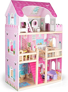 Maison de poupée avec accessoires poupée jeu de rôle jouets en bois 16 meubles 4 poupées