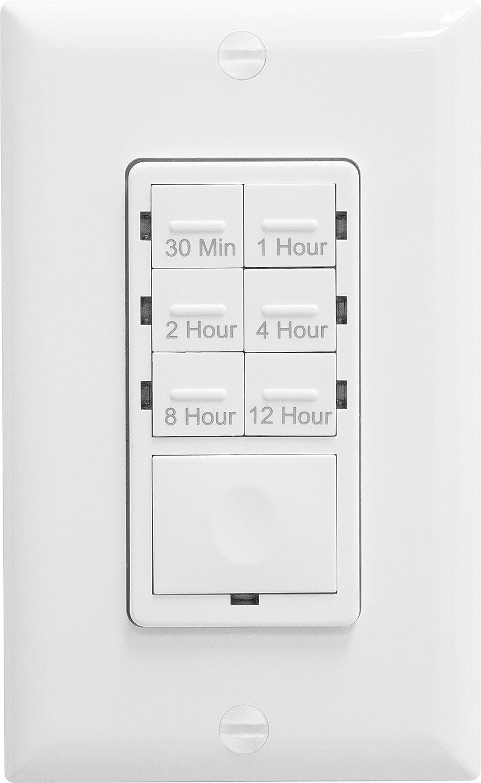 enerlites het06-12-w bathroom timer switch, fan switch timer, in wall timer  switch, light switch timer, 30 min - 12hrs, night light led indicator,