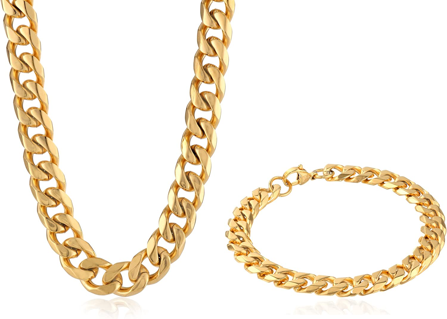 Men's Stainless Steel Curb Chain Bracelet and Necklace Jewelry Set Gold-Tone 22 Inches 10 mm Wide by Lavari Jewelers