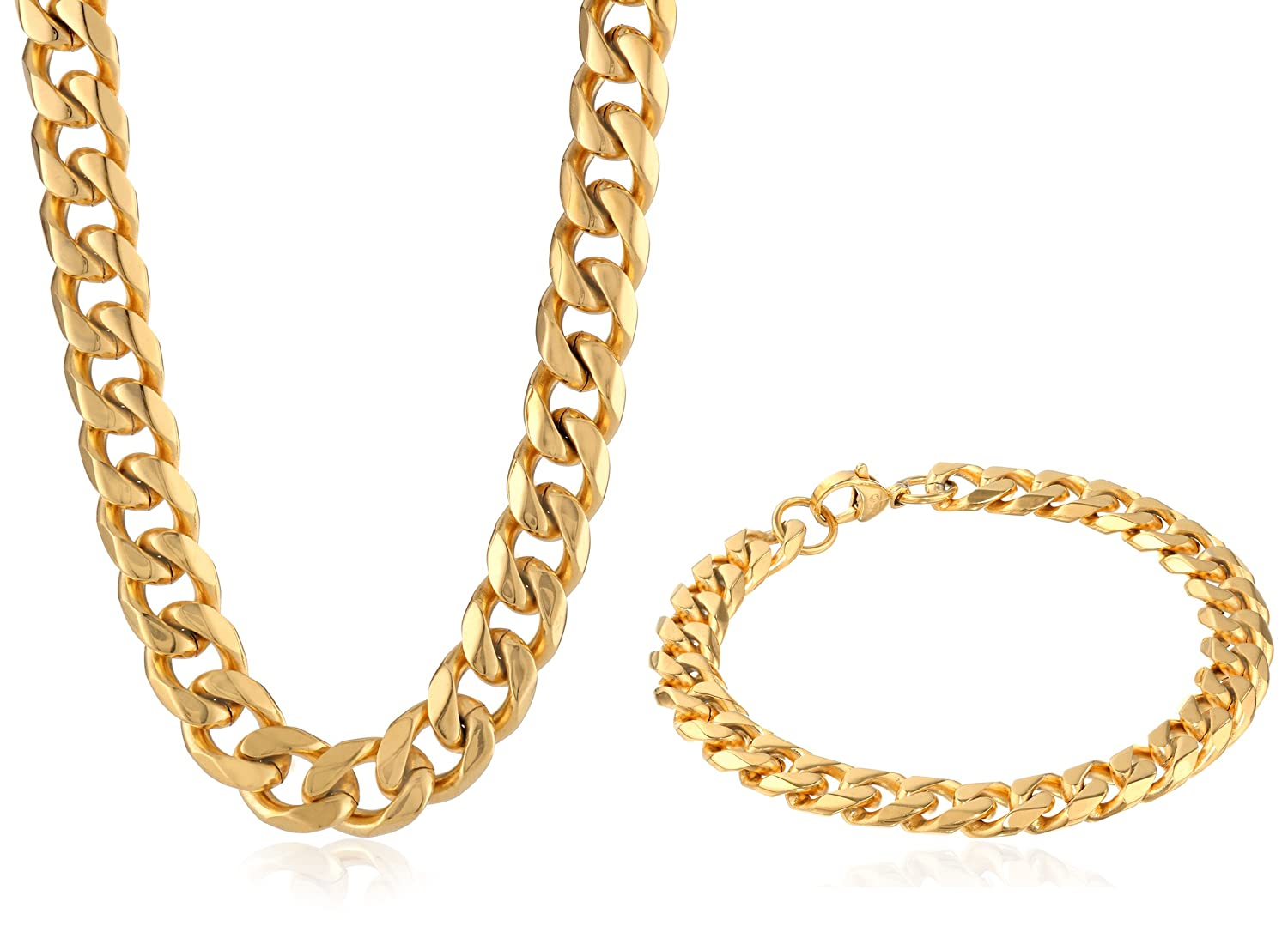 Mens GoldTone Stainless Steel CurbChain Bracelet and Necklace