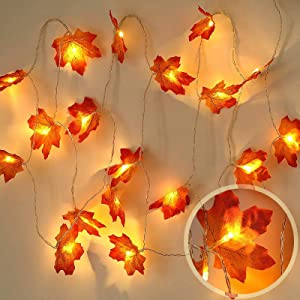 Maple Leaf String Lights,Fall Maple Garland Lights,9.8ft 20 LED Autumn Hanging Fall Leave Vines for Home Garden Autumn Harvest Party Halloween Thanksgiving Fireplace Door Frame Doorway Christmas Decor