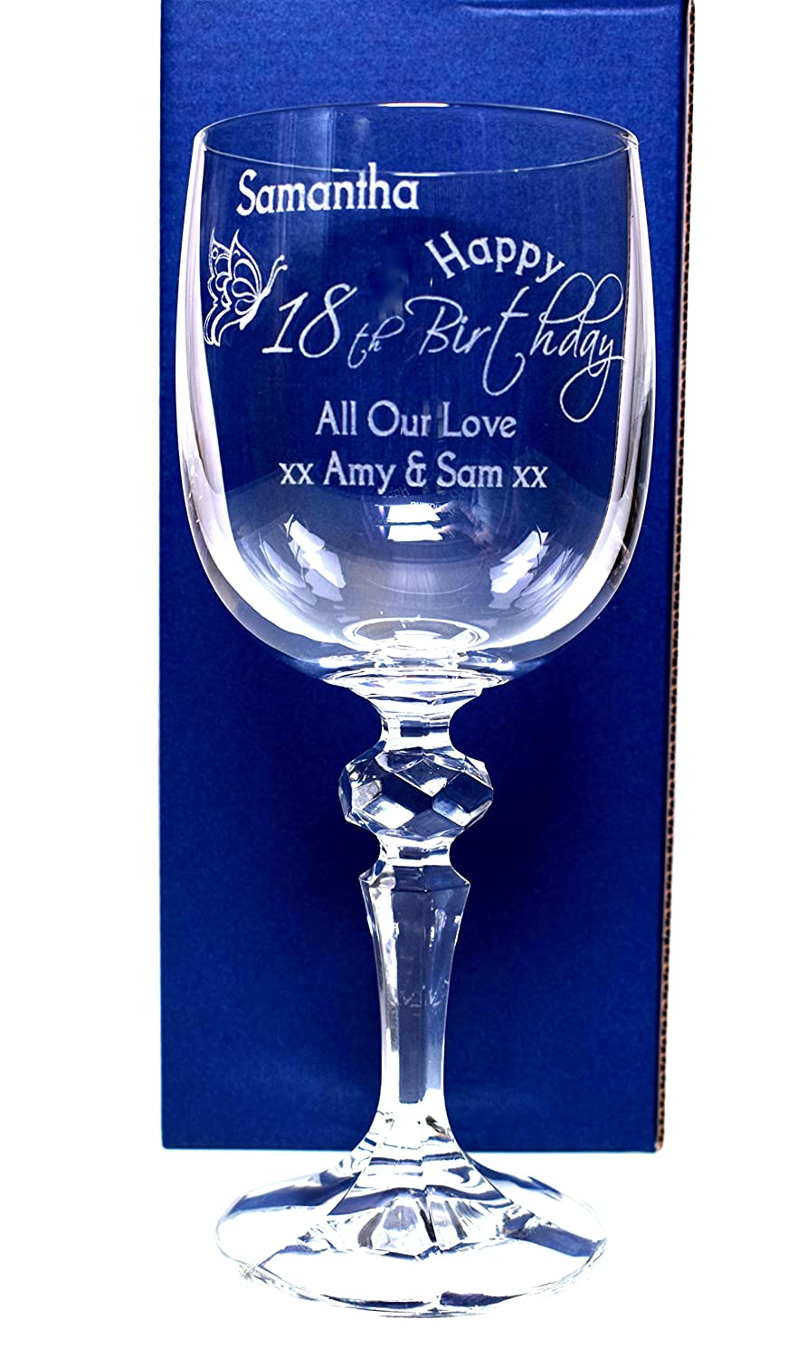 (GD) Engraved/Personalised Birthday Butterfly Mirelle Wine Glass Gift for Girls/Women/18th/21st/30th/40th/50th/60th/65th/70th/80th/Mum/Mummy/Nan/Nanny/Grandma/Auntie Cr8 A Gift