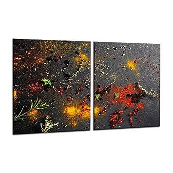 Ceranfeldabdeckung 80x52 cm Gewürze Bunt Herdabdeckplatten Spritzschutz Glas