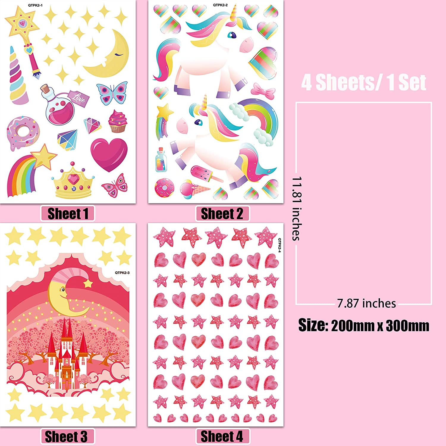Wall Stickers for Bedroom Girls Fairy Wall Decals with Moon Castle Butterfly Rainbow Star Birthday Party Gift for Kids Glow in The Dark Stickers for Ceiling 4 Sheets Unicorn Sticker Set