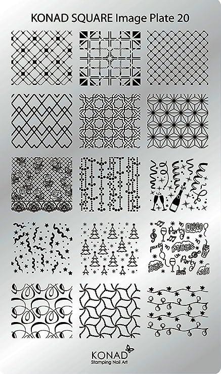 c20 Placa de Diseños Rectangular Konad Original. Plantilla para uñas Konad España.: Amazon.es: Belleza