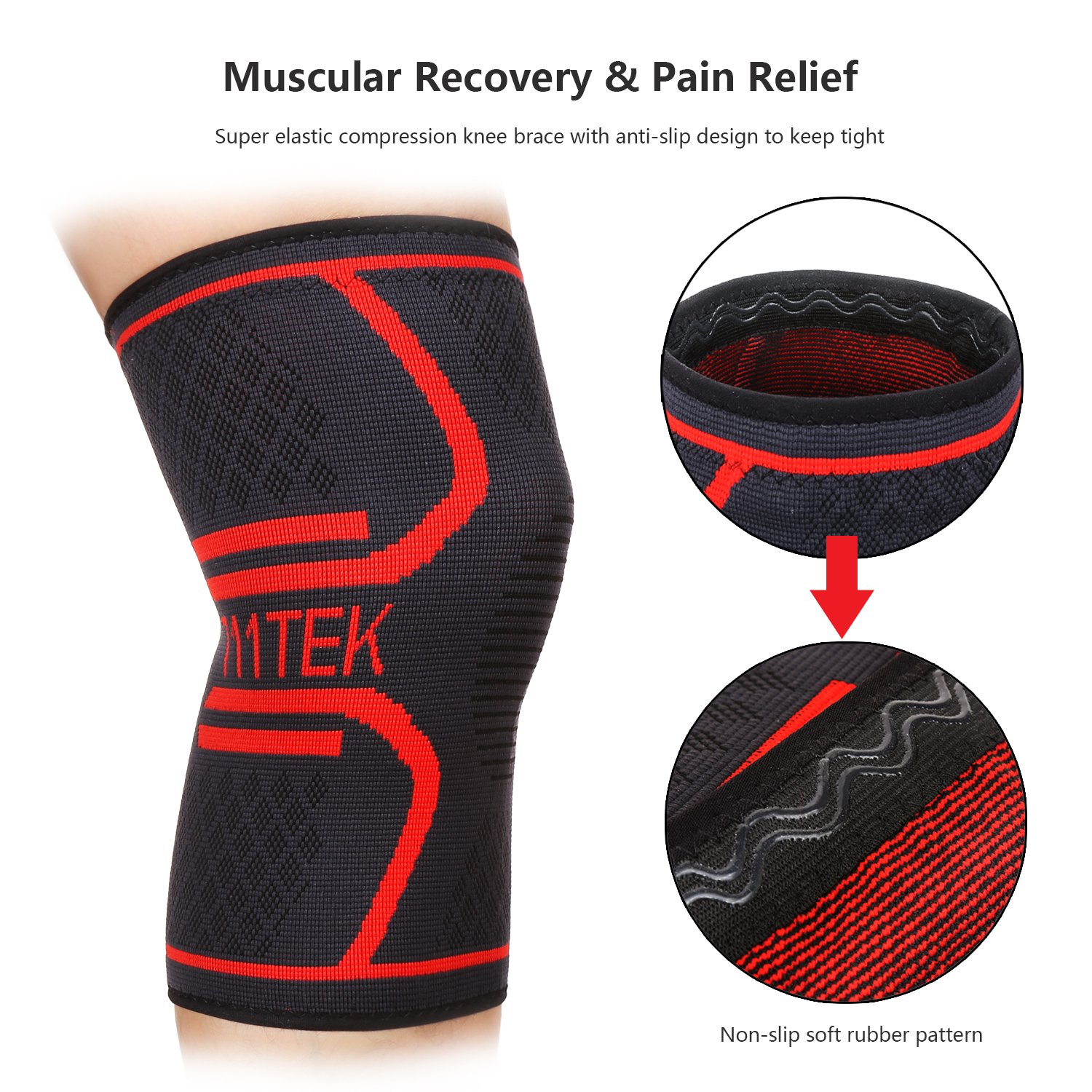 711TEK Knee Sleeve, Knee Brace Support Compression for Joint Pain and Arthritis Relief. For Men And Women - Wear Anywhere 2 Pack(M)