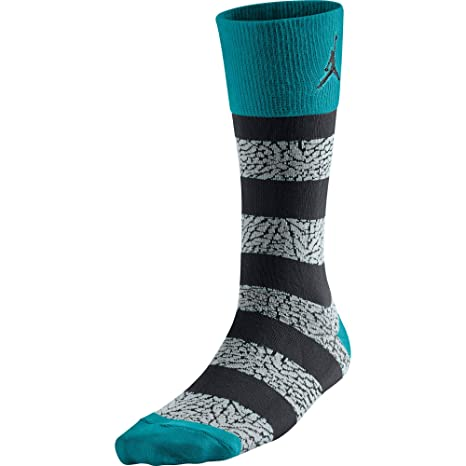 Jordan Calcetines Elephant Striped Crew para hombre Tropical Teal / Black 647688-310 (Talla