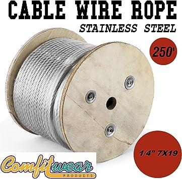 Amazon Com Galvanized Steel Aircraft Cable Wire 7x19 1 4 X 250 Home Improvement