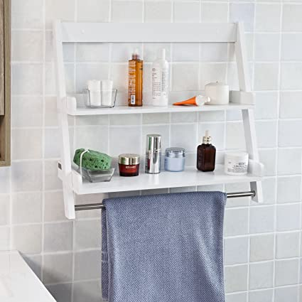 SoBuy FRG117 W, White Wall Mounted Shelf, Storage Display Ladder Shelf,  Bathroom