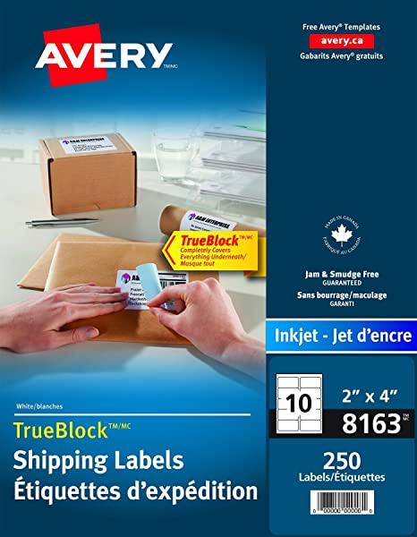 Avery shipping labels with trueblock technology for inkjet printers avery shipping labels with trueblock technology for inkjet printers 2 x 4 white rectangle 250 labels permanent 8163 made in canada amazon reheart Choice Image