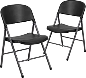 Flash Furniture 2 Pk. HERCULES Series 330 lb. Capacity Black Plastic Folding Chair with Charcoal Frame