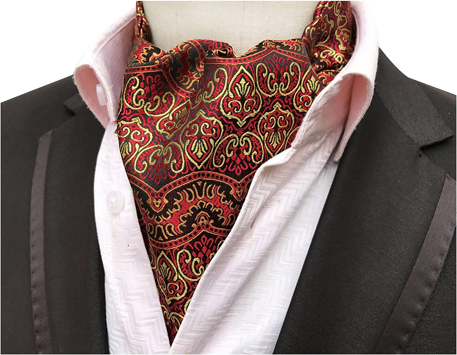 Elfeves Mens Graphic Business Ascot Cravat Jacquard Woven Ties for Husband