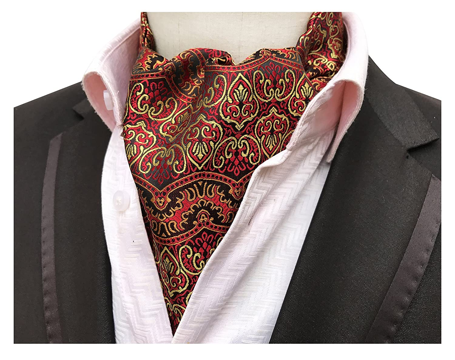 Elfeves Men's Graphic Business Ascot Cravat Jacquard Woven Ties for Husband Aug17A2017-8-12-23