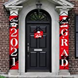 3 Pieces 2021 Graduation Banner Decorations, Class of 2021 Congrats Grad Porch Sign Hanging Banner Door Sign Welcome Decor Ph