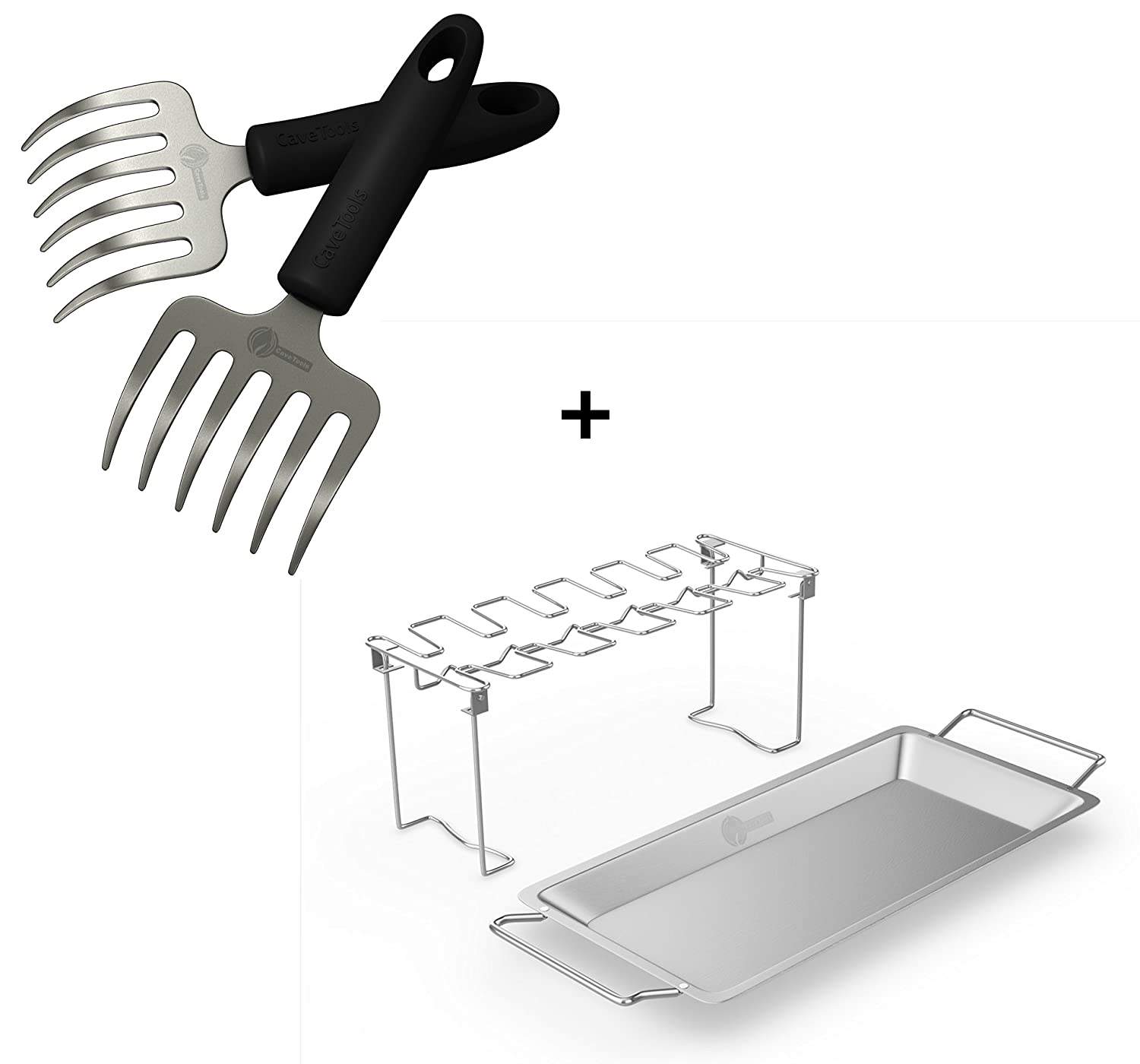 Pulled Pork Shredder Rakes Chicken Wing Leg Rack For Grill Smoker or Oven – Stainless Steel Roaster Stand Drip Pan For Cooking Vegetables In BBQ Juices – Dishwasher Safe Barbecue Accessories